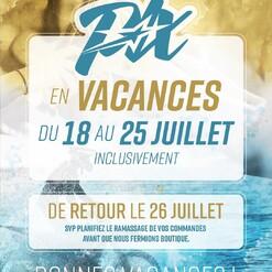 ☀️ L'équipe PLX sera en vacances du 18 au 25 juillet 😎 ▪ PRÉVOYEZ LE RAMASSAGE DE VOS COMMANDES AVANT LE 18 JUILLET ▪ Bonnes vacances !